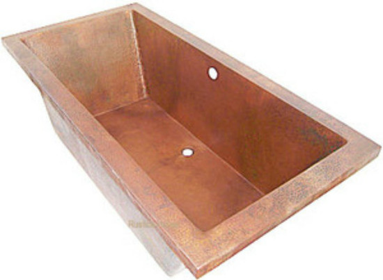 drop-in copper bathtub hammered