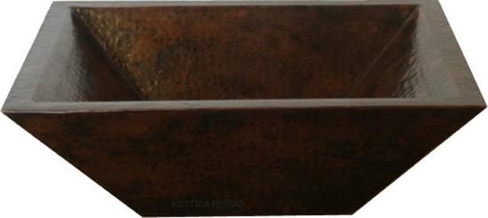 rectangular copper bathroom vessel sink