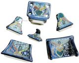blue green ceramic bath accessory set