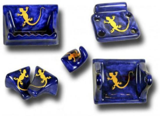 cobalt yellow ceramic bath accessory set