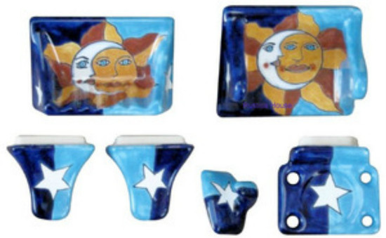 blue brown ceramic bath accessory set