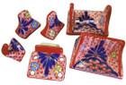 red blue ceramic bath accessory set