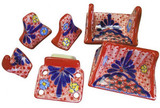 red blue ceramic bath accessory set