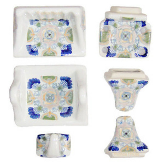 white blue ceramic bath accessory set