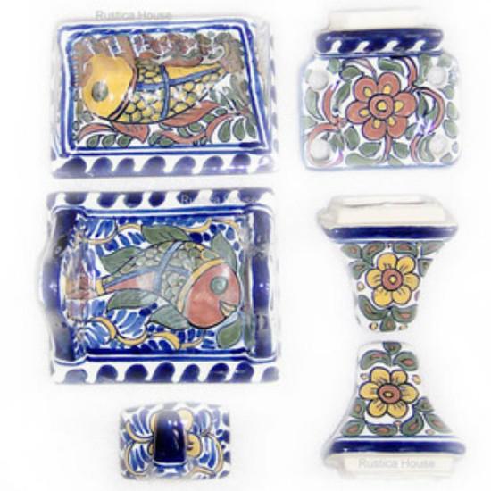 brown yellow ceramic bath accessory set