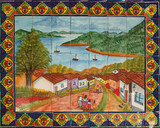 western bathroom wall tile mural