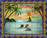 mexican kitchen wall tile mural