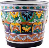 handmade green and yellow ceramic flower pot