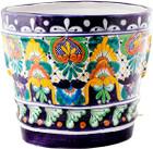 handmade cobalt yellow flower pot