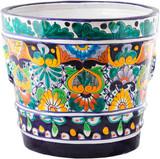 hand crafted cobalt yellow flower pot