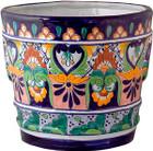 decorative terra cotta green flower pot