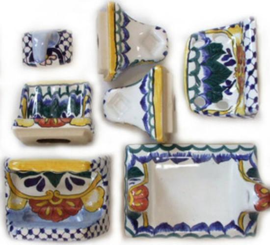yellow blue ceramic bath accessory set
