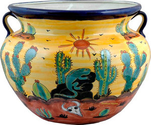 Handmade Talavera Planter green brown