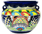 handcrafted talavera flower planter yellow green