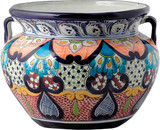 painted talavera flower planter orange blue