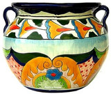 hand painted talavera flower planter green yellow