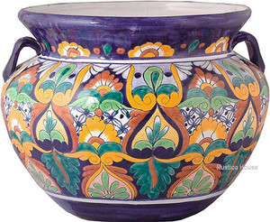 artisan made talavera flower planter brown green