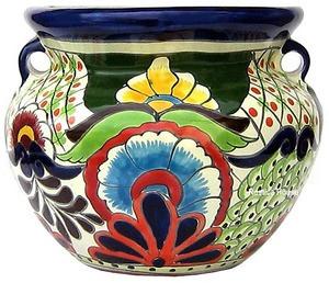 decorative talavera flower planter green cobalt