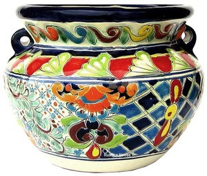 mexican talavera flower planter red blue