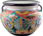 colonial talavera flower planter blue red