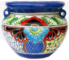 hacienda talavera flower planter white blue