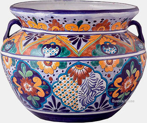 country style talavera flower planter yellow cobalt