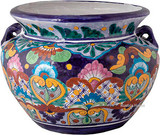 south east talavera flower planter cobalt yellow