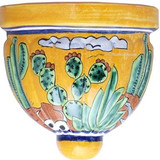 painted talavera sconce yellow green