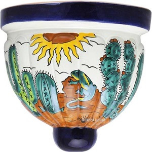hand painted talavera sconce green brown