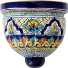 hand crafted talavera sconce blue green