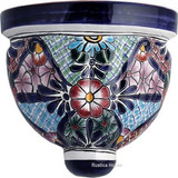 decorative talavera sconce blue white