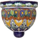 porcelain talavera sconce yellow blue