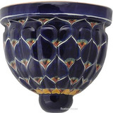 colonial talavera sconce cobalt yellow