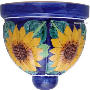 hacienda talavera sconce blue yellow