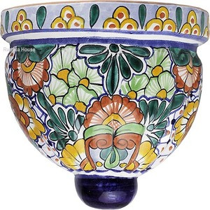decorative talavera sconce brown blue