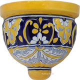 hand painted talavera sconce white blue