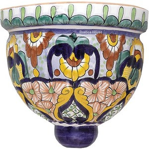 handcrafted talavera sconce green brown
