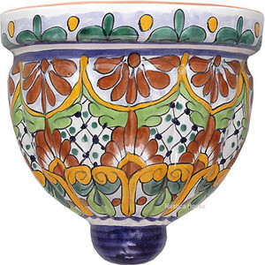 hacienda talavera sconce brown yellow