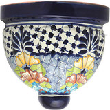 porcelain talavera sconce brown blue