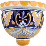 handmade talavera sconce yellow blue