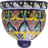 spanish talavera sconce brown green