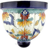mexican talavera sconce white green