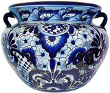 custom made talavera flower planter light blue