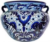 custom made talavera flower planter light blue