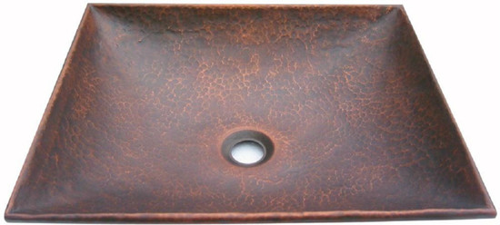 square copper vessel sink