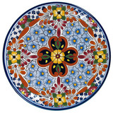 handmade talavera plate yellow brown