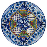custom made talavera plate blue green