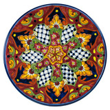 painted talavera plate brown yellow