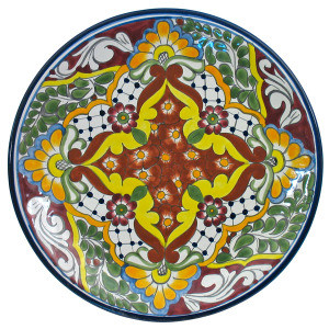 hand painted talavera plate green brown