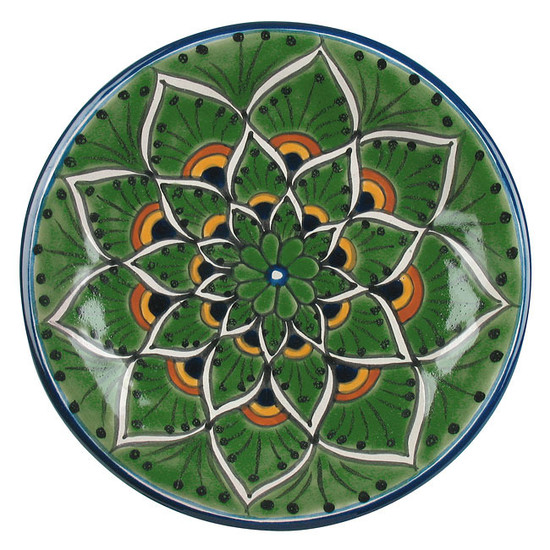 spanish talavera plate green yellow